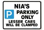 NIA'S Personalised Parking Sign Gift | Unique Car Present for Her |  Size Large - Metal faced
